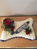 Based Pillow with Personalised ribbon and floral spray