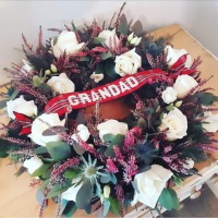 White Rose, Heather and Blue Thistle Wreath
