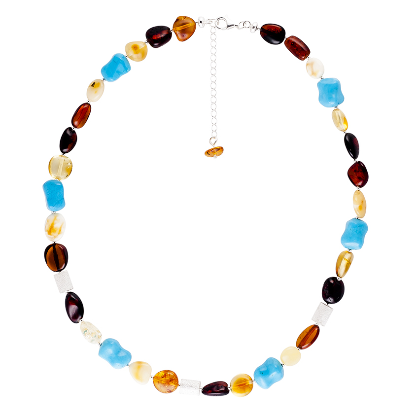 Multicolour Baltic Amber, Turquoise and Sterling Silver bead Necklace
