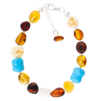 Multicolour Baltic Amber, Turquoise and Sterling Silver bead Bracelet