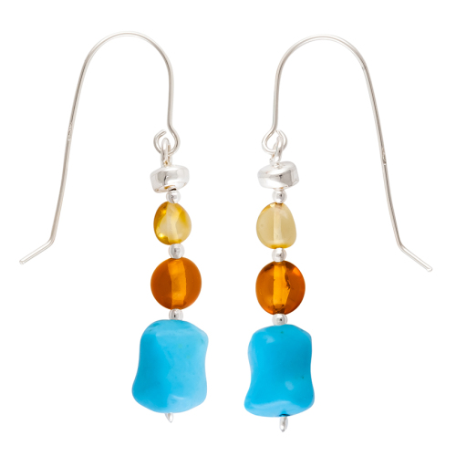 Lemon/Cognac Baltic Amber,Turquoise Drop Earrings