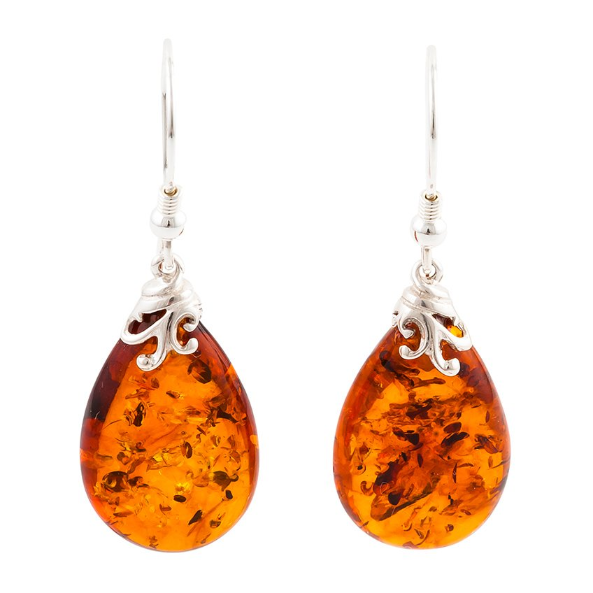 Pear Shape Baltic Amber Drop Earrings