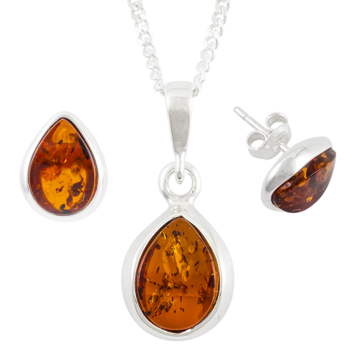Tear Drop Cognac Amber Sterling Silver Pendant and Stud Earrings