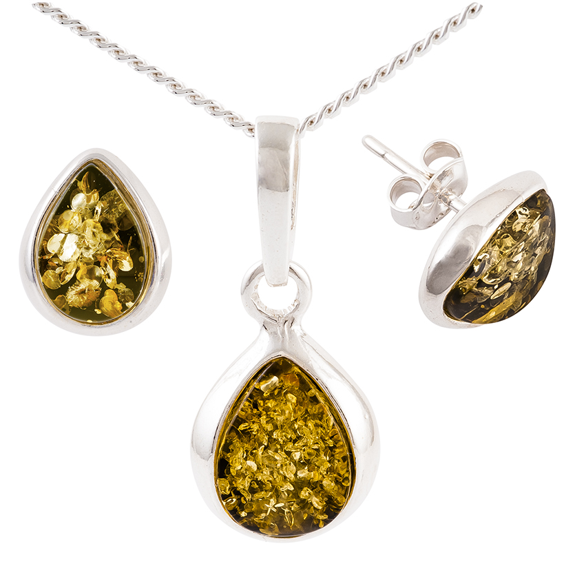 Tear Drop Green Amber Sterling Silver Pendant and Stud Earrings