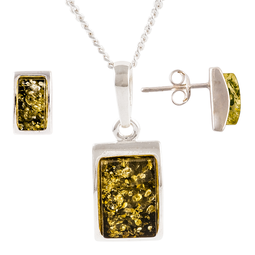 Oblong Green Amber Sterling Silver Pendant and Stud Earrings