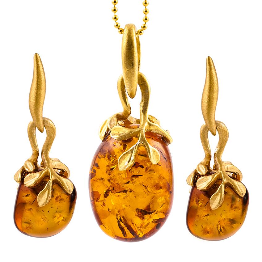 Hand Cut Pebble Cognac Amber Pendant and Drop Stud Earrings