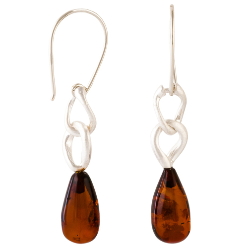 Cognac Amber & Matt Sterling Silver Link Drop Hook Earrings