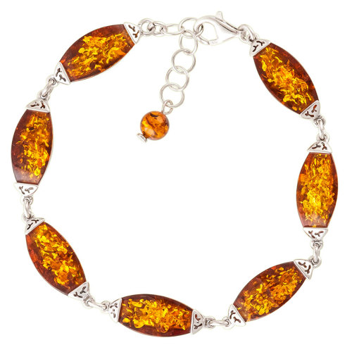 Cognac Amber and Rhodium plated Sterling Silver Bracelet