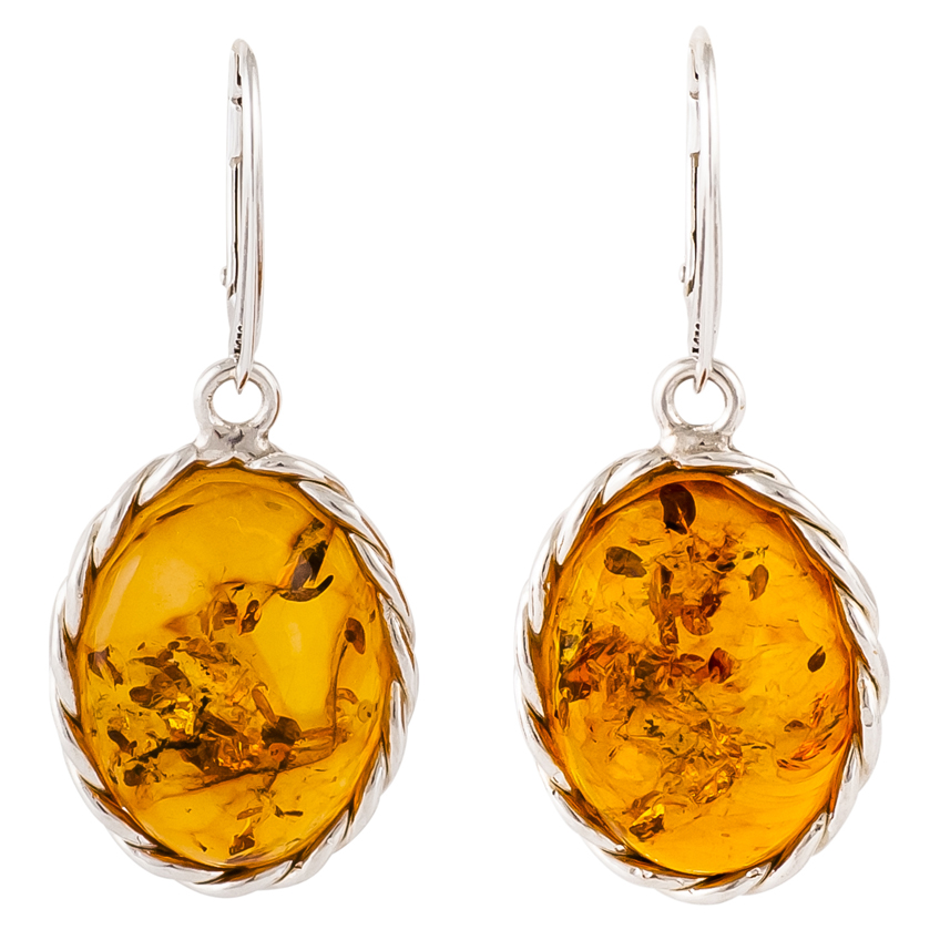 Cognac Amber and Plaited Sterling Silver Drop Earrings