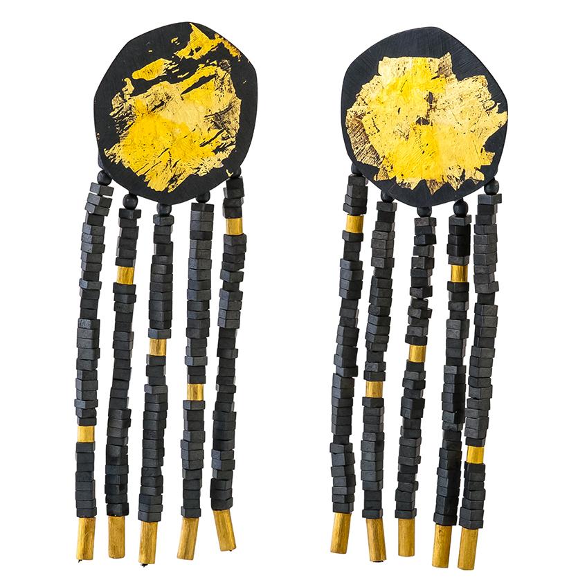 Black & Gold Heptagon Stud Earrings with Haematite Fringe