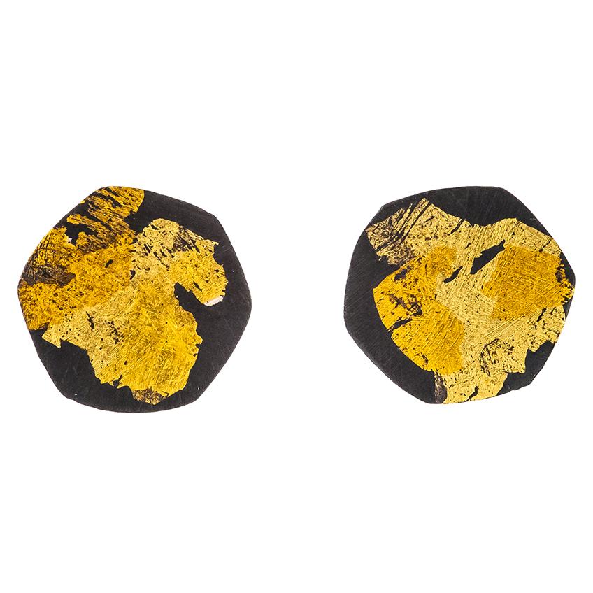 Black & Gold Hexagon Stud Earrings