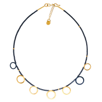 Gold & Black Circle Necklace with Haematite Stones