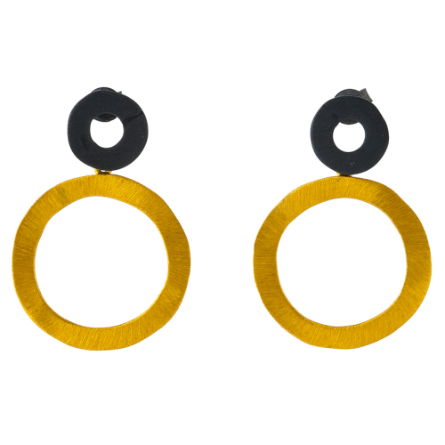 Black & Gold Circle Stud Earrings