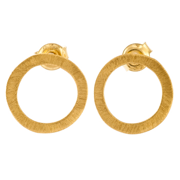 Single Circle Gold Plated Stud Earrings