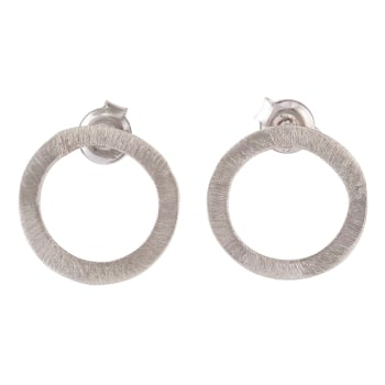 Single Circle Silver Stud Earrings