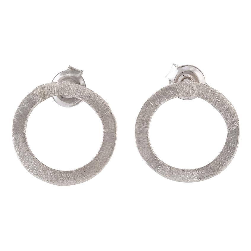 Single Circle Silver Stud Earrings