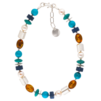 Lapis Lazuli and Baltic Amber Necklace