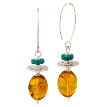 Cognac Amber & Turquoise Drop Earrings
