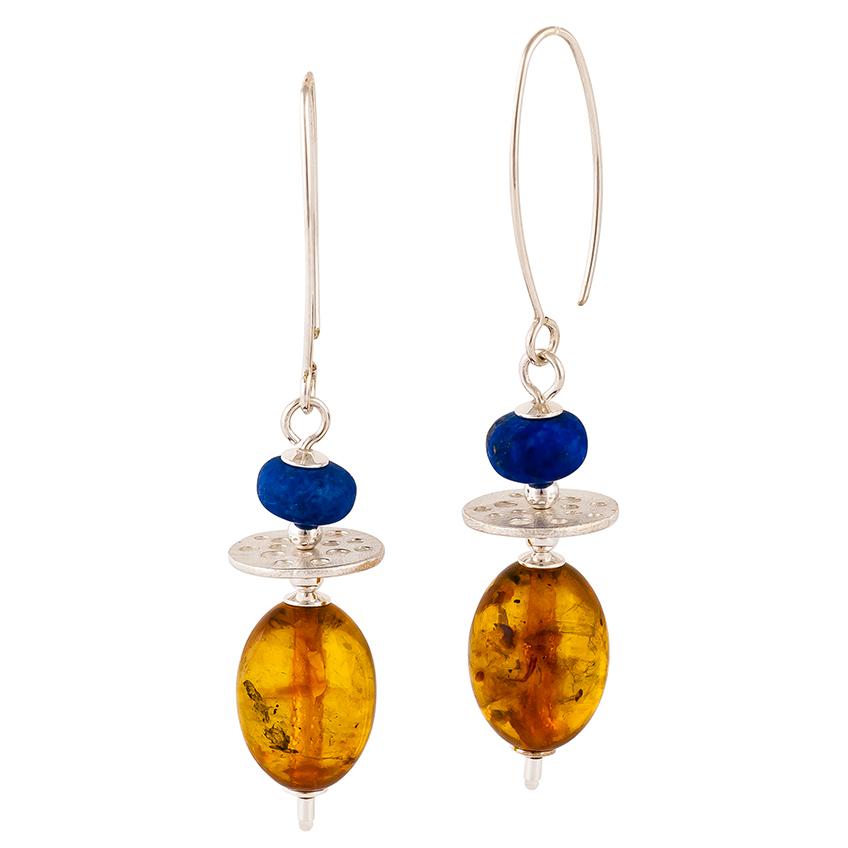 Cognac Amber & Lapis Lazuli Drop Earrings