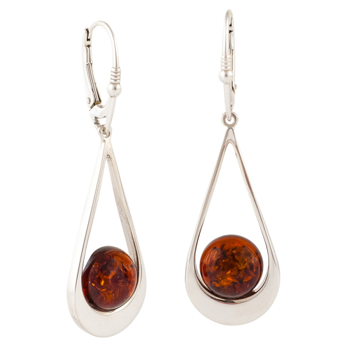 Round Cabochon Cognac Amber Drop Earrings