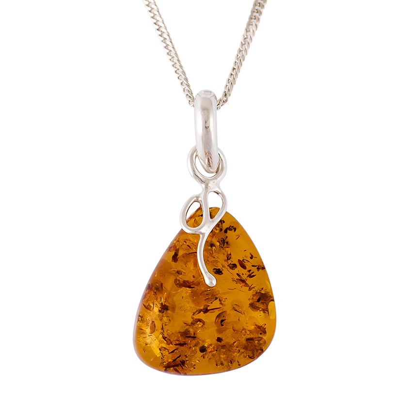 Cognac Amber Silver Abstract Pendant