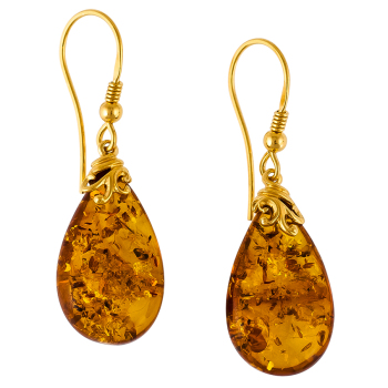 Cognac Pear Amber & Gold Drop Earrings