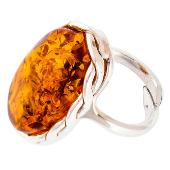 Cognac Amber & Plaited Silver Ring
