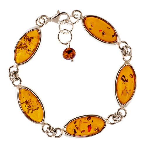 Marquise Baltic Cognac Amber 5 Stones Bracelet