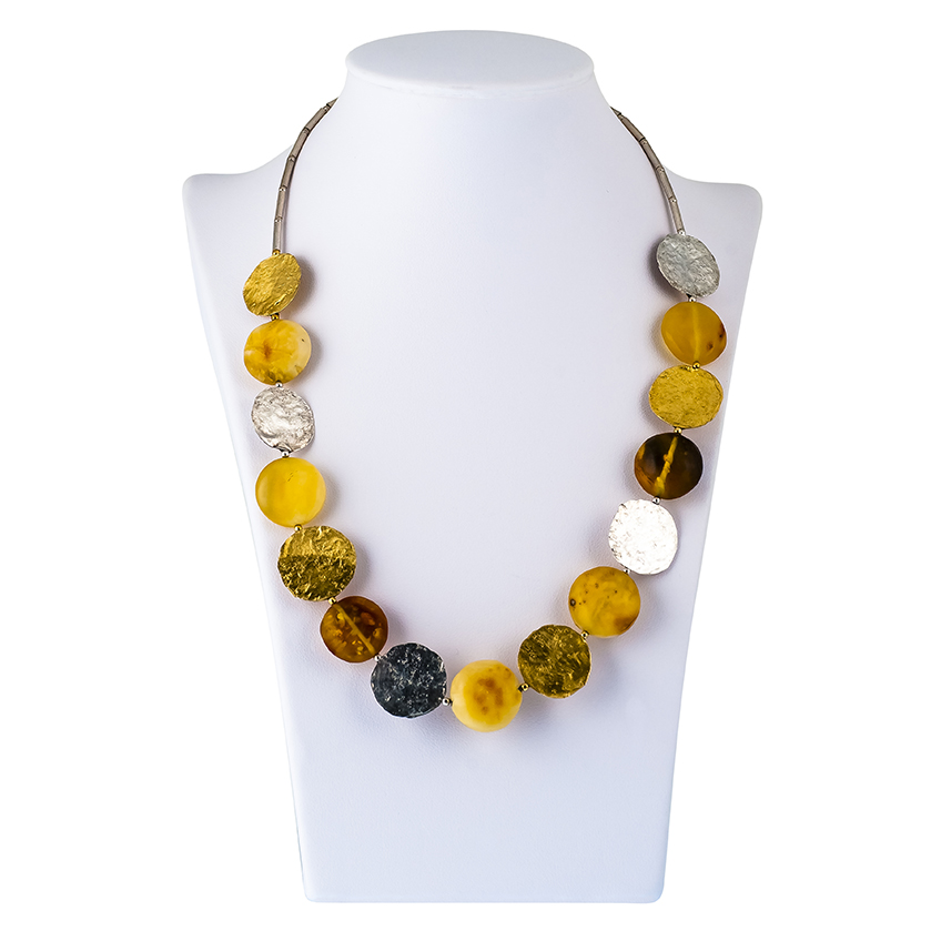 Multicolour Baltic Round matt Amber & Textured Collar