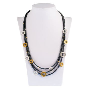 Three strand Gold plated, Silver and Haematite stones 46 cm Necklace