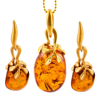Pebble Drop Cognac Amber Pendant with Leaf Mount and Drop Stud Earrings