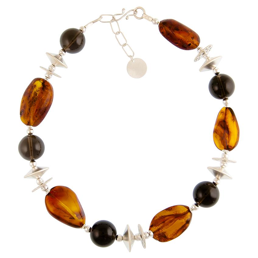 Smokey Quartz and chunky Baltic Amber and matt silver necklace