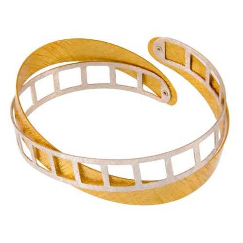Textured Goldplated Silver Cuff Bangle