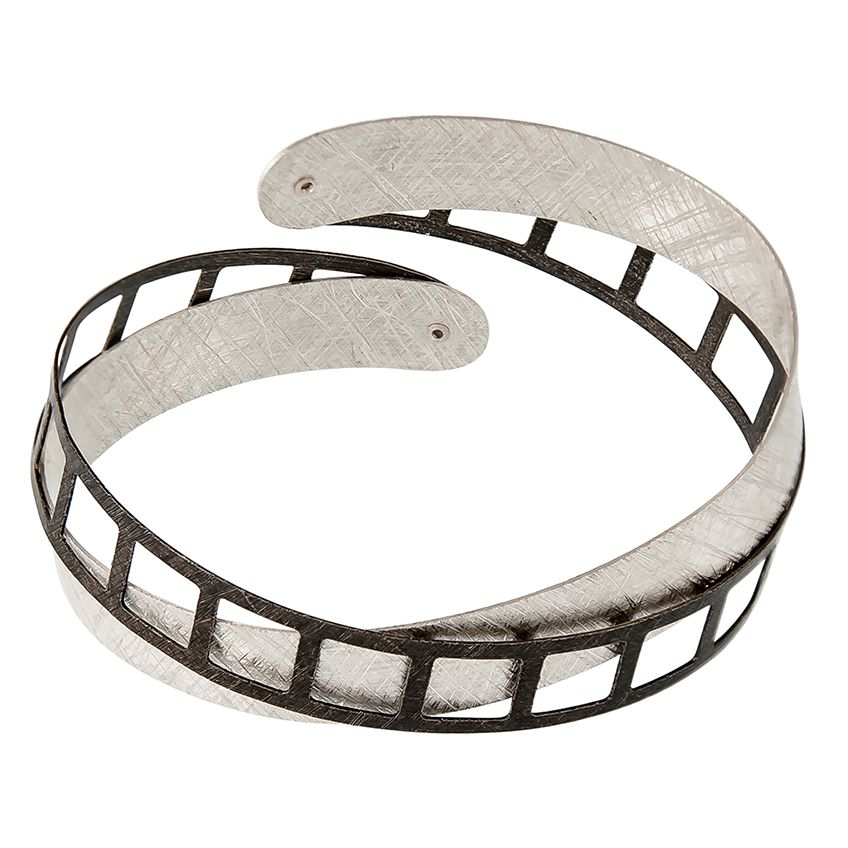Textured and Oxdised Sterling Silver Bangle