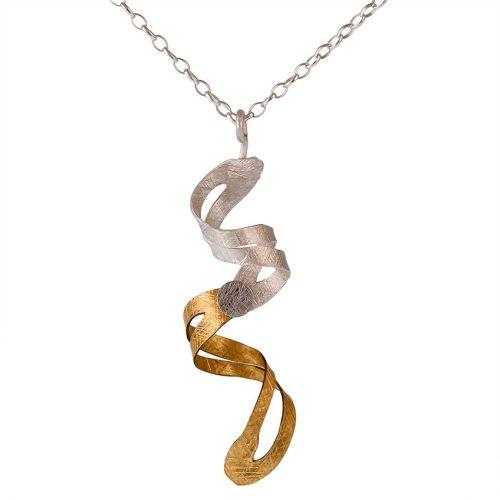 Textured Goldplated Silver & Matt Sivler Spiral Pendant