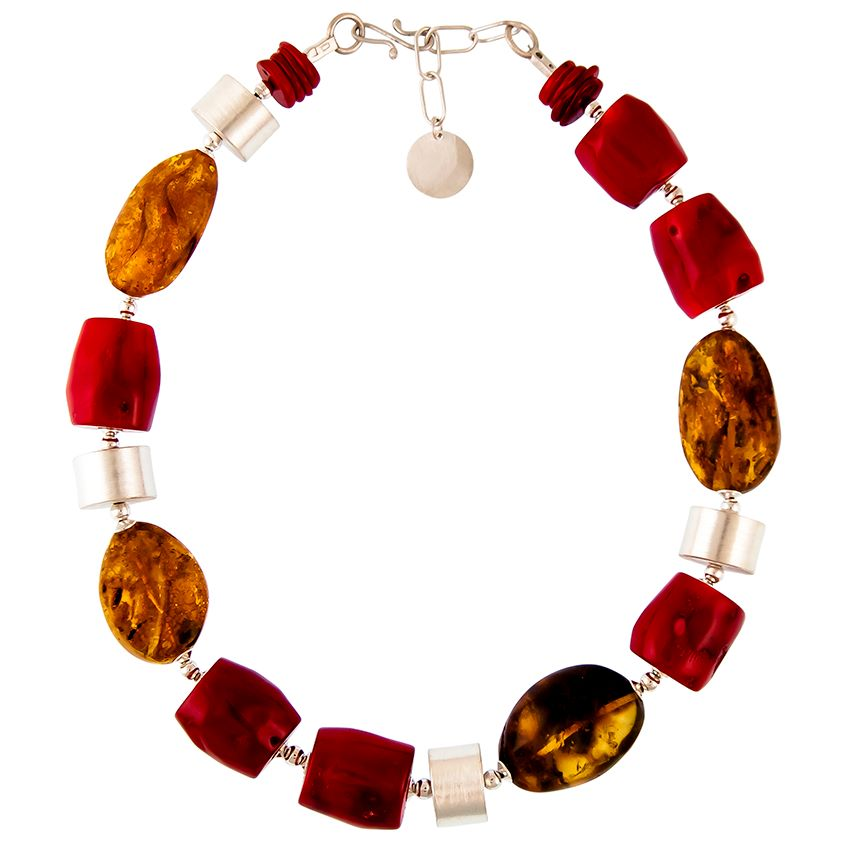 Dyed Bamboo Coral & Chunky Baltic Amber & Matt Silver Neckalce