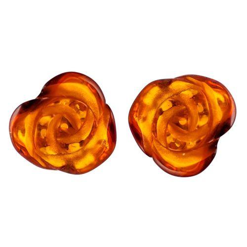 Elegant Cognac Amber Rose Shape Earrings set in Sterling Sivler