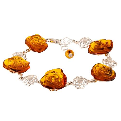 Elegant Cognac Amber Rose Shape Bracelet from the Flower collection