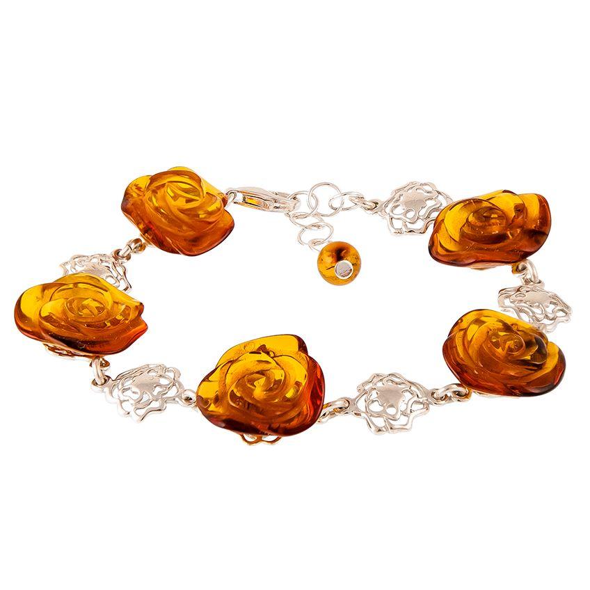 Elegant Cognac Amber Rose Shape Bracelet from the Flower collection