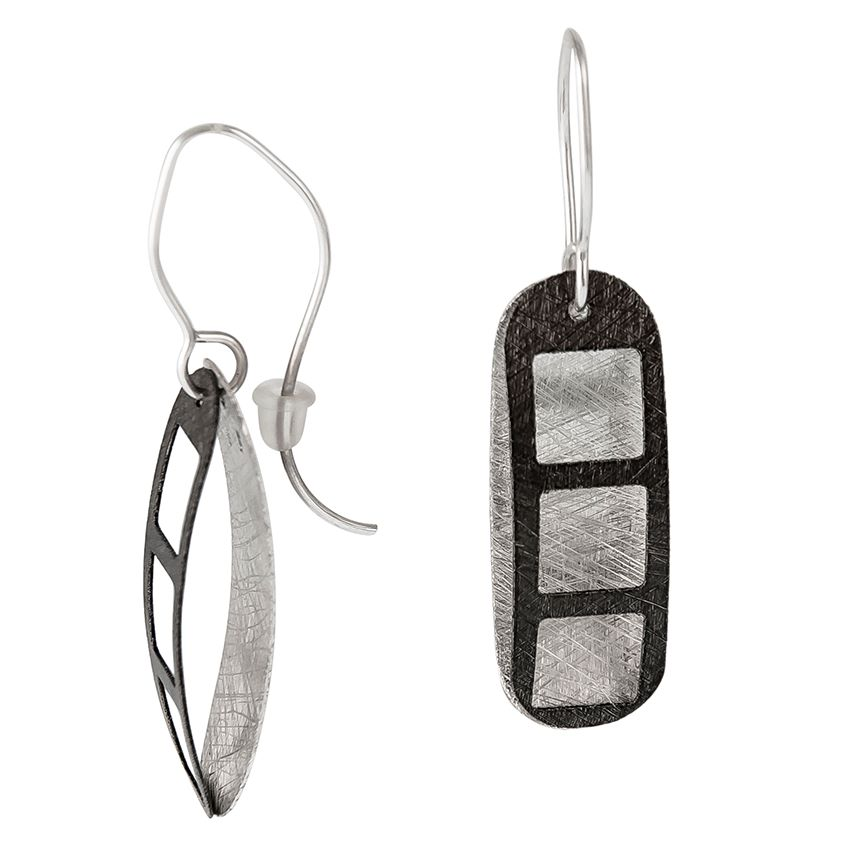 Textured Matt Sterling Sivler & Oxdised Silver Earrings