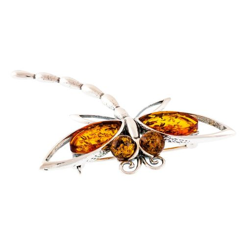 Cognac Amber Dragonfly Brooch