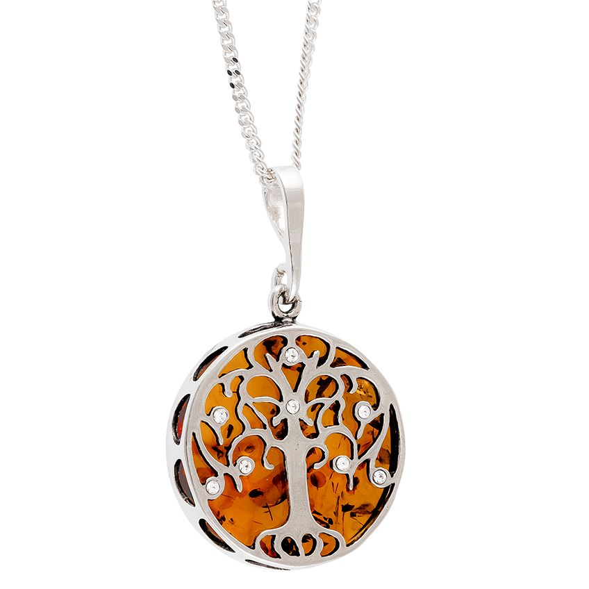Amber/Silver TREE OF LIFE Pendant