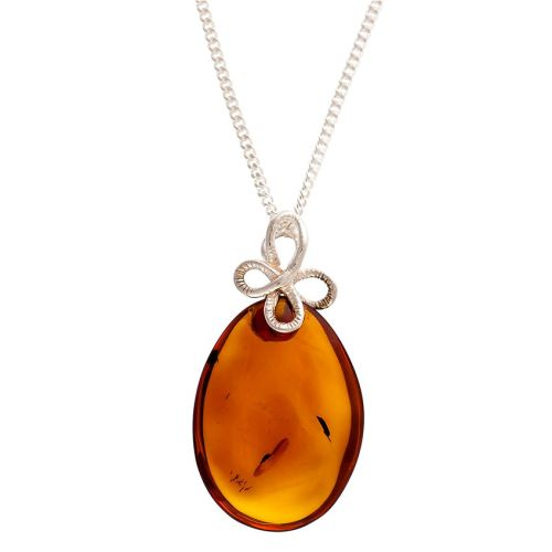 Amber Pendant with Silver Bow Bail