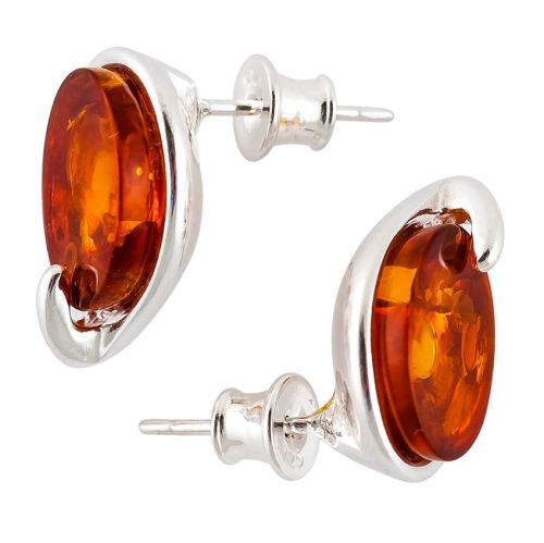Cognac Amber Silver Studs
