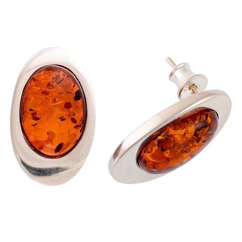 Cognac Amber Silver Stud  Earrings