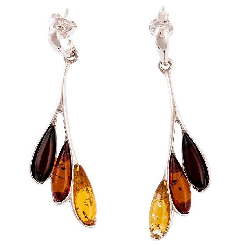 Multicolour Amber and Silver Leaf style earrings