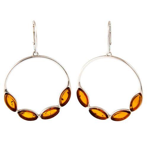 Cognac Amber and Silver Drop Earrings
