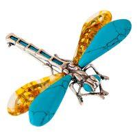 Amber and Turquoise Dragonfly Brooch