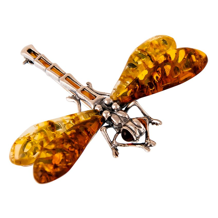Cognac and Lemon Amber Dragonfly Brooch