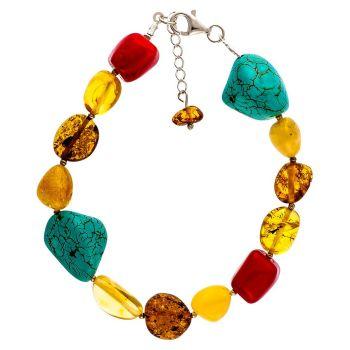 D012-314 Multicolour Baltic Amber Bracelet